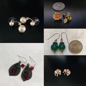 Jewelry - (5) pairs of earrings, lot, gold plated silver